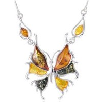 Silver Amber Necklace, Baltic Amber-Multicolor Amber Butterfly Necklace