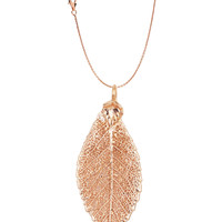 Real Leaf PENDANT with Chain ELM Dipped in Rose Gold Genuine Leaf Necklace