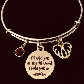 I Will Hold You in My Heart Until I Hold You in Heaven Gold Expandable Adjustable Bracelet Memorial Jewelry Wire Bangle Angel Wings Birthstone One Size Fits All Gift Loved One or Pet Memorial Bereavement Gift