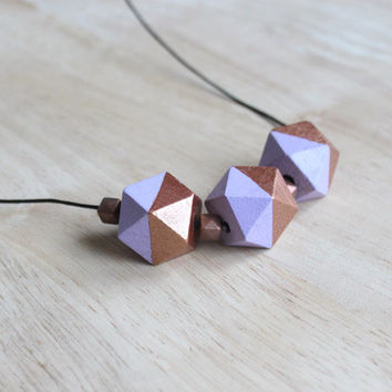 wooden geometic necklace // lavender, copper dipped necklace for girls, women - everyday jewelry, bright colored necklace
