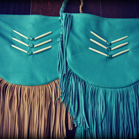 GYPSY Traveler Boho Bag /// Turquoise /// Large Recycled Leather Fringe Tote Tribal Bag