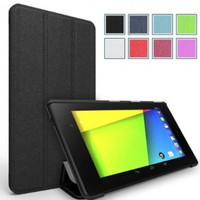 Google Nexus 7 2013 Case - Poetic Google Nexus 7 2013 Case [Slimline Series] - [Lightweight] [Ultra-slim] PU Leather Slim-Fit Trifold Cover Stand Folio Case for Google Nexus 7 2nd Gen 2013 Black (3 Year Manufacturer Warranty From Poetic)