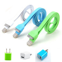 Total 6pcs/lot! Colouful 3PCS USB Cord and Charger For Iphone 4/4s