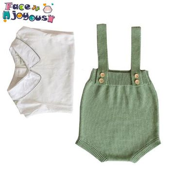New Baby Knitted Rompers Overalls Newborn Baby Boys Girls Clothes Infantil Baby Sleeveless Romper Jumpsuit Girls Romper
