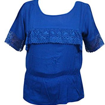 Mogul Interior Womens Free Spirit Top Lace Work Rayon Boho Playful Summer Fun Sexy Casual Blouse