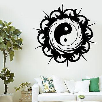 Wall Decal Buddha Yin Yang On Sun Burst Ornament Vinyl Sticker Unique Gift (z2885)