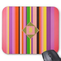 Cool Shecky colorful stripes texture with B monogr Mouse Pad