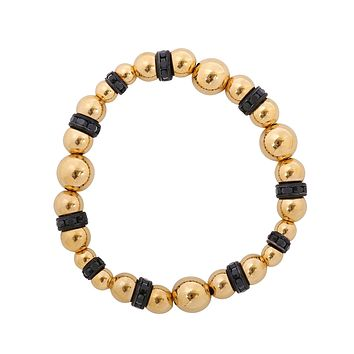Graduated Gold Bead and Rondelle Stretch Bracelet