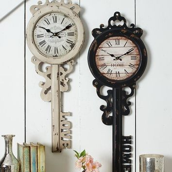 Vintage Wall Clock Key Shaped Sentiment Home or Love Antiqued Distressed Frame
