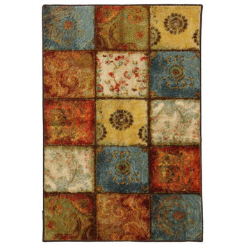 20-in x 34-in Multi-Color Patchwork Pattern Rug - Made in USA