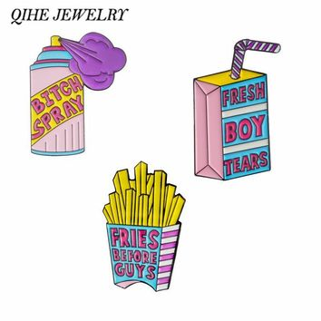 QIHE JEWELRY Fresh Boy Tears Fries Before Guys Bitch Spray Pins Enamel lapel pins Badges Brooches for women girl Cute pins
