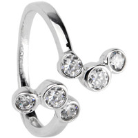 Sterling Silver 925 Cubic Zirconia BUBBLES Toe Ring | Body Candy Body Jewelry