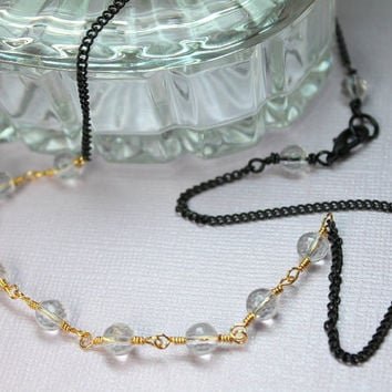 Clear Crystal Quartz Necklace, Mixed Metal Jewelry, Gold Wire Wrapped Gemstones, Black Chain, Autumn Necklace