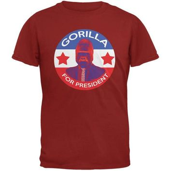 DCCKJY1 Election 2016 Gorilla For President Cardinal Red Adult T-Shirt