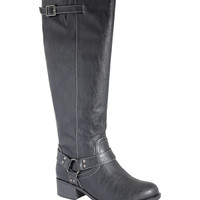Intaglia Black Nevada Extra Wide-Calf Riding Boot | zulily