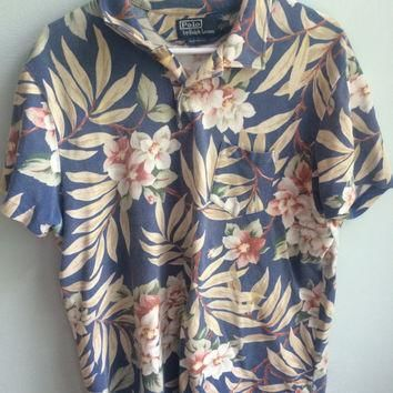 ralph lauren blue floral dress golf shirts