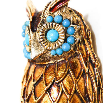 Owl Brooch, Pendant, Gold Tone, Turquoise, Mid Century Modern, Designer Vintage Jewelry