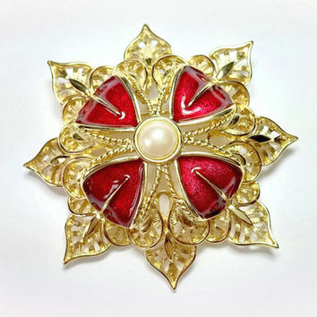Vintage Monet Brooch Gold with Red Enamel and Pearl Center 2.5 Inches Across Big Bold Beautiful A Real Standout Piece Fine Costume Jewelry