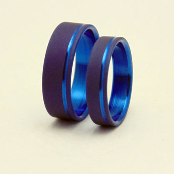 Sandblasted Titanium wedding band set with Electron Blue lining,  Handmade wedding band set