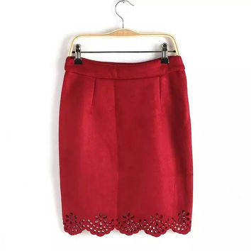 Cutout Floral A-Line Mini Suede Skirt