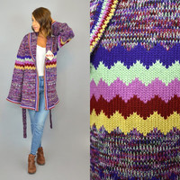 SPACE DYE vtg 70's deadstock Skiva boho hippie zig zag knit CARDIGAN wrap sweater, medium-large