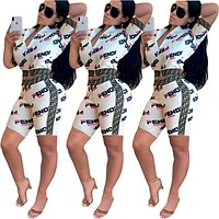 FENDI Summer Classic Popular Women Personality Top Shorts Set Two-Piece Sportswear White