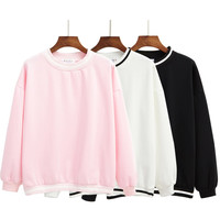 harajuku 2016 korean autumn winter kawaii sweatshir Wind thread minimalist casual long-sleeved round neck hoodie hedging women