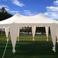 29x21 Octagonal Octagon Wedding Party Gazebo Tent Canopy White
