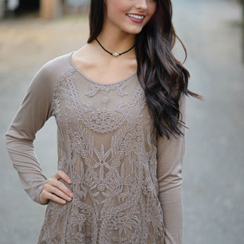 Laced Away Mocha Lace Top