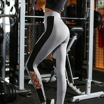 Grey-Black Patchwork Lace-up High Waisted Stretch Yoga Casual Sports Legging