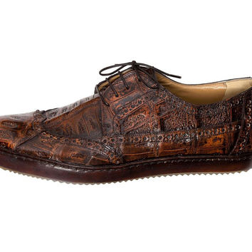 "Mauri - ""8518 Nuvola"" Hand Painted All Over Crocodile Wing Tip Shoe"