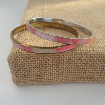 2 mother of pearl bangles | 1970s costume jewelry
