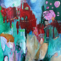 """Large Abstract Painting Expressionist """"The Smell of Cranberries and Evergreens"""""""