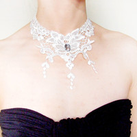 SALE large white lace floral choker bib necklace victorian crystal green stone beaded bridal wedding steampunk women jewelry
