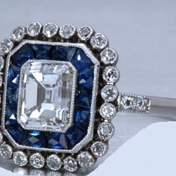 3.72ct Emerald Diamond Engagement Ring Art Deco Sapphire Halo 18kt JEWELFORME BLUE