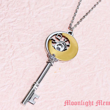 Sailor Moon Necklace - Inspired by Sailor Moon's Moon Stick - Silver Star Swarovski Crystal Key Sailor Moon Necklace Jewelry Christmas Gift