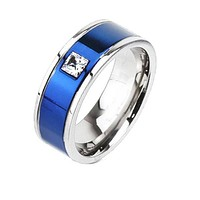 Center Blue - Square CZ Detailed Two Tone Blue IP and Titanium Ring