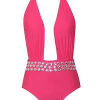 Dion Red Crystal Detail Swimsuit
