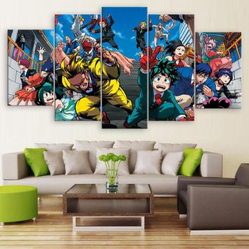 5 Pieces Wall Art Painting Pictures My Hero Academia Animation Poster Home Decor For Living Room Modern Canvas Printed Artwork