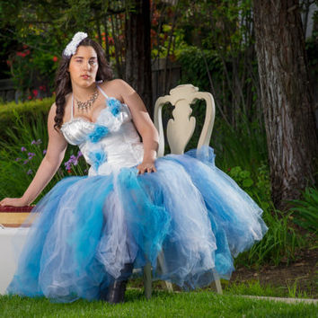 Adult tutu dress, Aduly Frozen dress, corset and tutu set, steampuck tutu dress, nontraditional wedding dress bridal tutu, blue white tutu