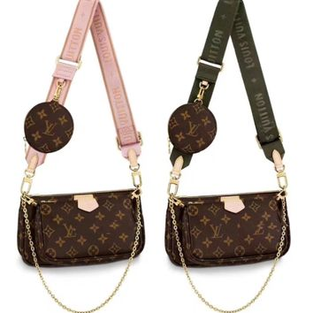 LV fashionable hot sale print broad band lady leisure 3 piece set shoulder bag