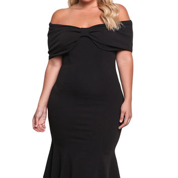 Black Plus Size Off Shoulder Mermaid Midi Dress LAVELIQ