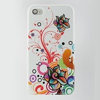 Dream Wireless Apple iPhone 4S/iPhone 4 Compatible Rubber Case - Retail Packaging - White Autumn Flower