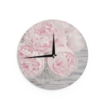 "Suzanne Harford ""Pink Peony Flowers"" Floral Photography Wall Clock - Outlet Item"