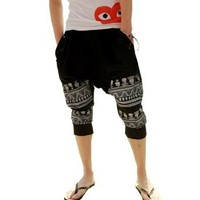 Mens Cotton Loose Harem Pants Printed Harem Calf-length Pants