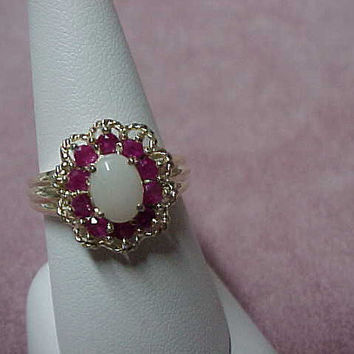 Vintage Solitaire Australian Opal and Natural Rubies Ring, 8mm x 6mm, 1.25 Carat, Solid Sterling Silver, Size 9