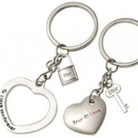 Silvery Lovers Metal Key Chains Couple Keychain Rings