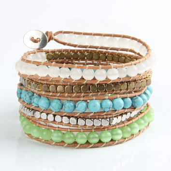 Turquoise Stone And Opal Mix Wrap Bracelet