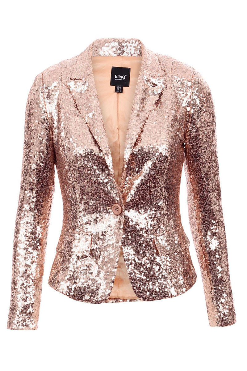 Blinq Sequin Blazer Rose Gold From Pop Couture Cardigan
