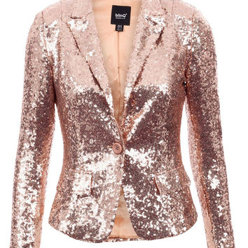 BLINQ SEQUIN BLAZER ROSE GOLD